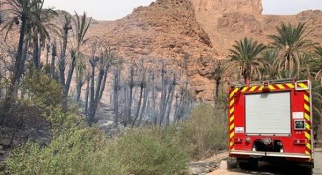 إخماد حريق في واحة أيت منصور قرب مدينة تافراوت