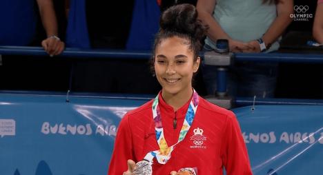 مغربية تفوز بأول ميدالية فضية في تاريخ مشاركة المغرب في الألعاب الأولمبية للشباب